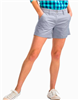 Cotton spandex blend ladies 5 inch inseam gray shorts with a flat front and front and back pockets