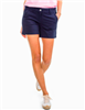 Cotton spandex blend ladies 5 inch inseam navy shorts with a flat front and front and back pockets