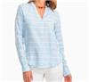 long sleeve light blue and white stripe casual cotton top