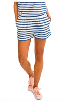 ladies cotton elastic waist blue and off white stripe shorts with 3 inch inseam