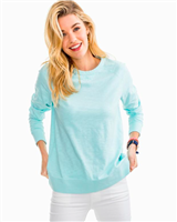 super soft long sleeve crew neck sweatshirt in pool blue