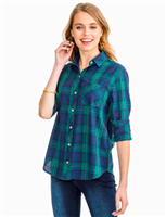 ladies dark blue plaid button down shirt