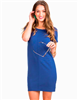 Cotton polyester spandex blend ladies navy dress