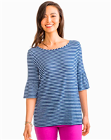ladies dark blue and light blue stripe 3/4 ruffle sleeve top