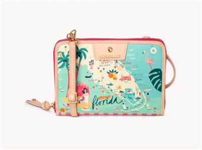 Ladies vinyl cross body handbag with a picture of Florida on it