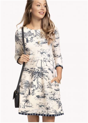 Ladies 3/4 sleeve island print cotton dress from Spartina 449