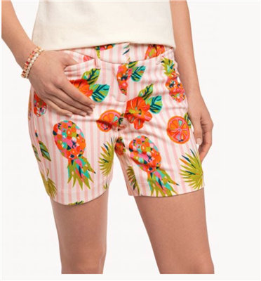 Ladies 7 inch flat front pineapple shorts from Spartina 449