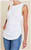 white cotton scoop neck sleeveless tee that is gathered at the side with a rounded hem
