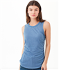 chambray cotton scoop neck sleeveless tee that is gathered at the side with a rounded hem