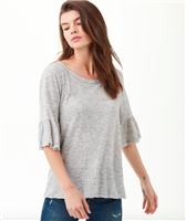 grey cotton top with a ruffle half sleeve