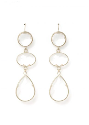 women's wire hung clear crystal earrings in silver tone hardware