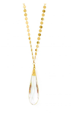 women's long gold necklace with 3 inch crystal pendant