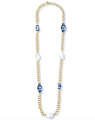 "Ladies 34"" Gold chain with blue and white porcelain beads and freshwater baroque pearls"