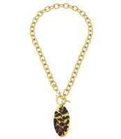 Handcast Gold chain with oval tortoise pendant Necklace