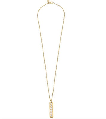 "Ladies 30"" Gold chain with gold bar with small freshwater pearls"