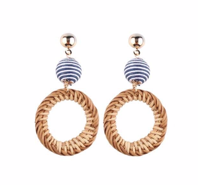 Women's 3 inch rattan circle earrings