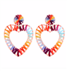 Women's 3 inch rainbow colored raffia heart earrings