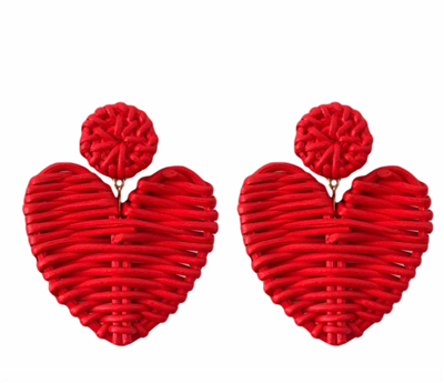 Women's 2.75 inch red colored rattan heart earrings