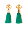2 1/4 inch gold bee earrings with green tassels