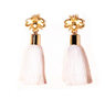 2 1/4 inch gold bee earrings with white tassels