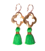 3 inch wire earrings with green tassels & gold quatrefoil