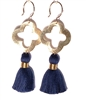 3 inch wire earrings with navy tassels & gold quatrefoil