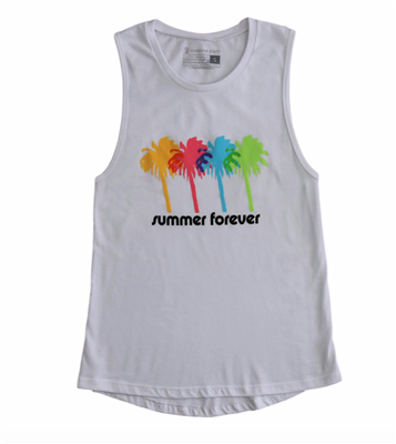 Ladies White Tank top with palm tree and reads summer forever on the front.