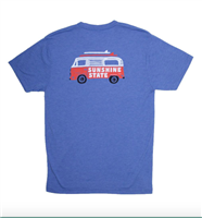short sleeve unisex royal blue tee with a camper on the back