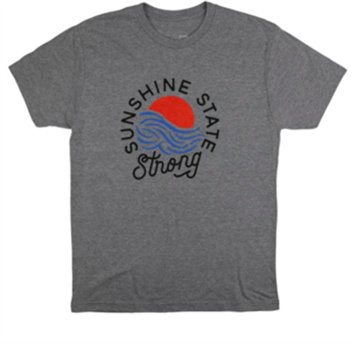 short sleeve unisex gray tee that reads Sunshine State Strong