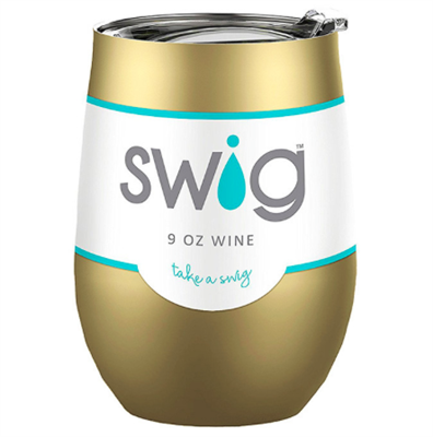 Swig 12 ounce gold Stemless Cup with clear lid