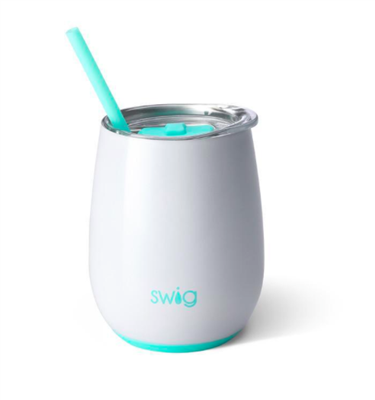 Swig 14 ounce white Stemless Wine Cup with straw and lid
