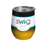 Swig 9 oz Stemless Wine Cup in Ombre Black/Gold with clear lid