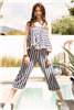 women's THML blue striped off the shoulder jumpsuit