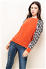 Women's THML orange velvety sweater with stripe sleeves