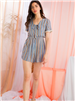 women's THML light blue stripe short's romper with cream fringe on the sleeve