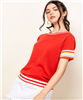 Women's THML red short sleeve top with stripe sleeves