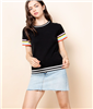 Women's THML black short sleeve top with stripe sleeves