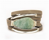 grey leather bracelet with wire wrapped aquamarine and crystals