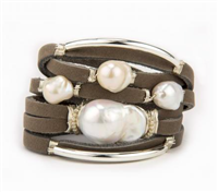 grey leather bracelet with wire wrapped baroque pearl