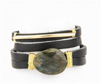 black leather bracelet with wire wrapped labradorite
