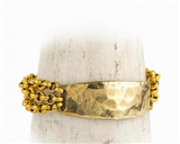 women's gold hammered ID bracelet