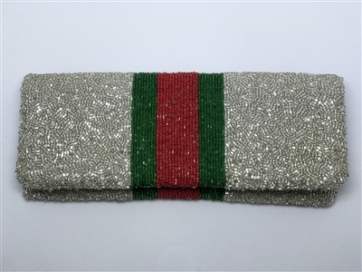 ladies silver beaded fold over clutch handbag with stripe