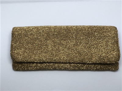 metallic gold beaded fold over clutch