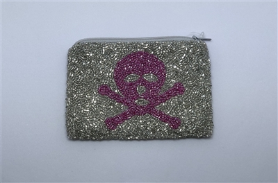 Silver Beaded Coin Purse Fuchsia Jolly Roger