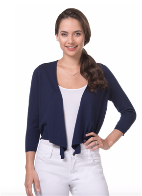 ladies navy cotton tie front sweater