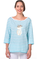 3/4 sleeve turquoise and white stripe shirt and gold foil pineapple on the front