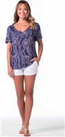 ladies navy short sleeve v-neck top with dotted shell prints