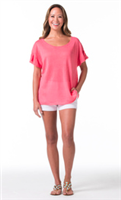 short sleeve pink linen sweater with short ruffle sleeves
