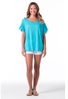 short sleeve turquoise linen sweater with short ruffle sleeves