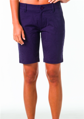 women navy twill shorts with 9 inch inseam, front and back pockets